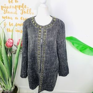 CHICO'S Gray Sparkly Tweed Embellished Jacket